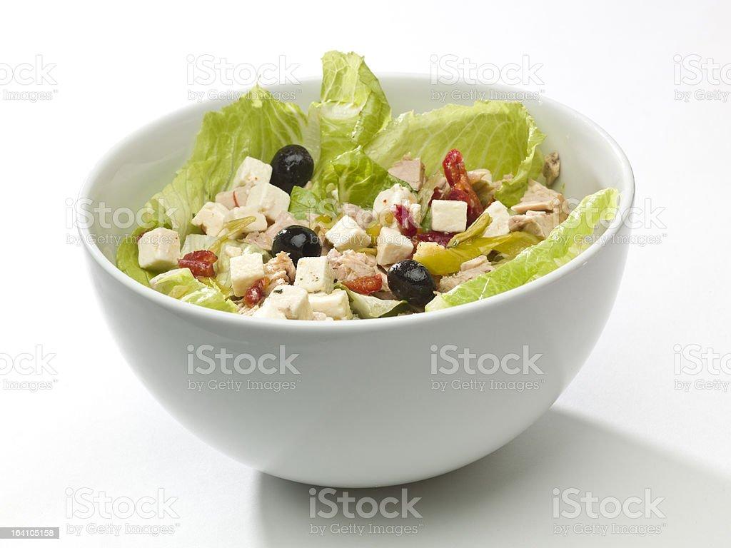 Tuna and feta cheese salad royalty-free stock photo