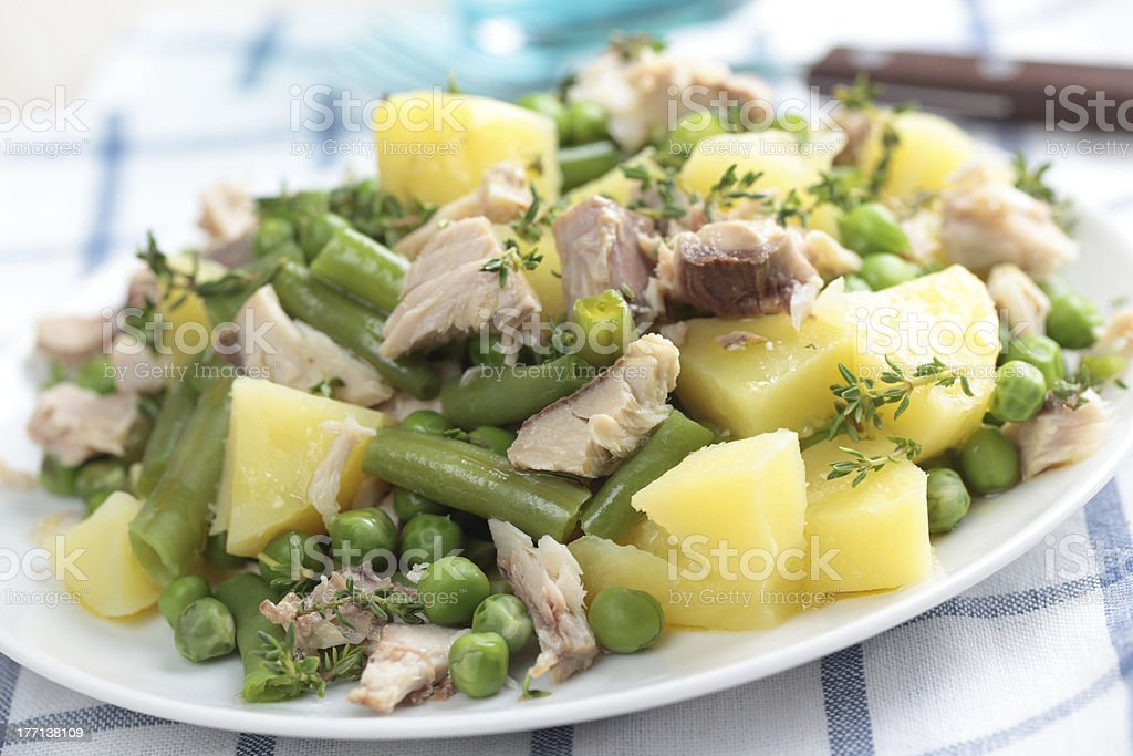 Tuna and potato salad royalty-free stock photo