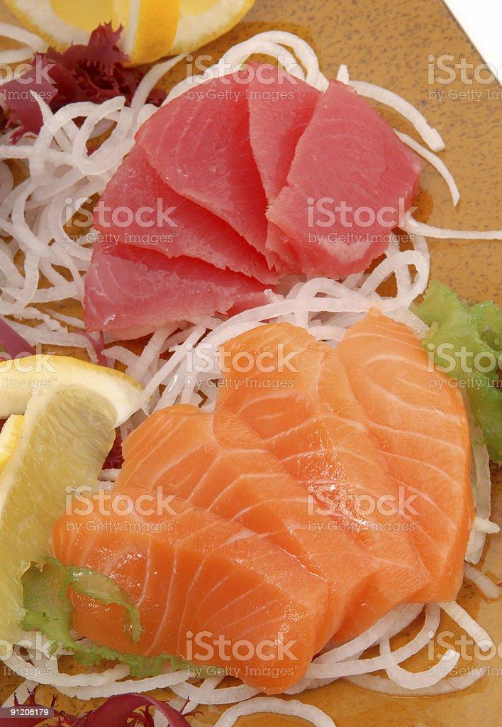 tuna and salmon royalty-free stock photo