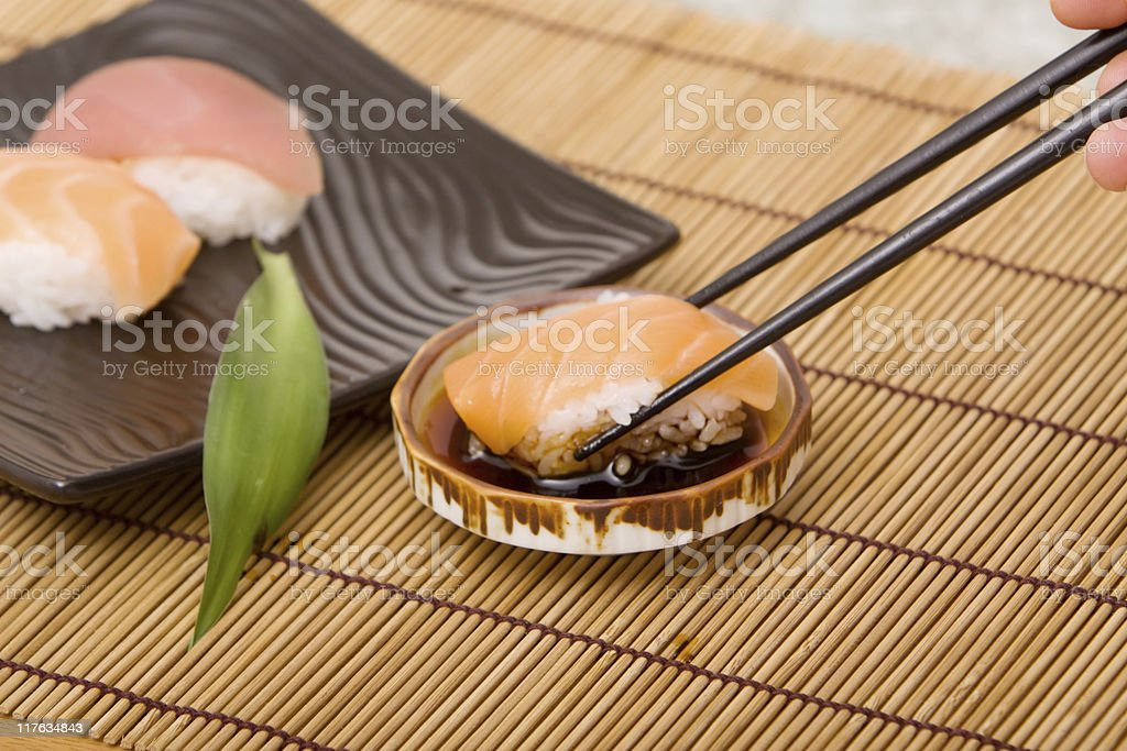 Tuna and salmon sushi royalty-free stock photo