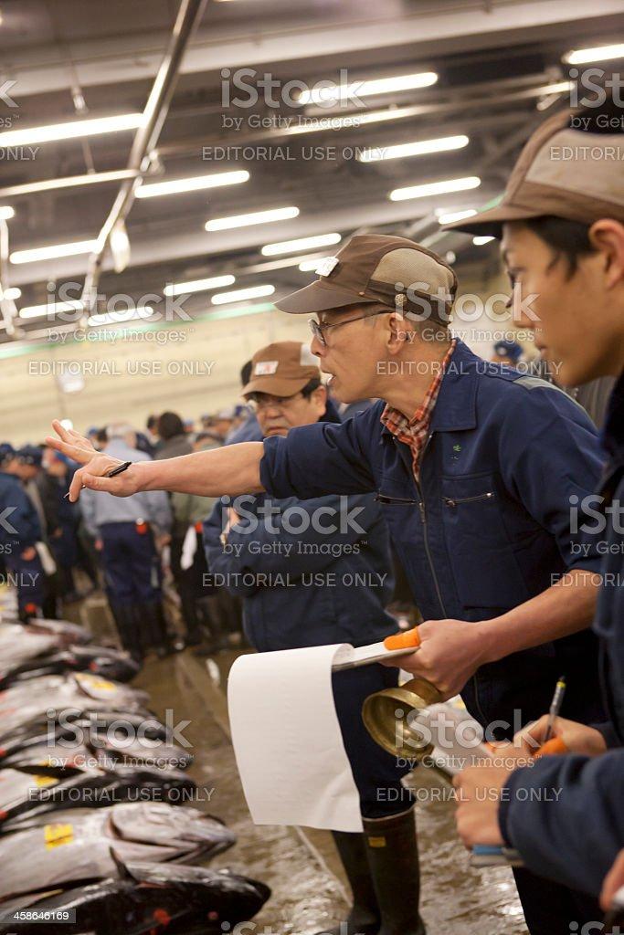 Tuna auction at Tokyo Fish Market stock photo