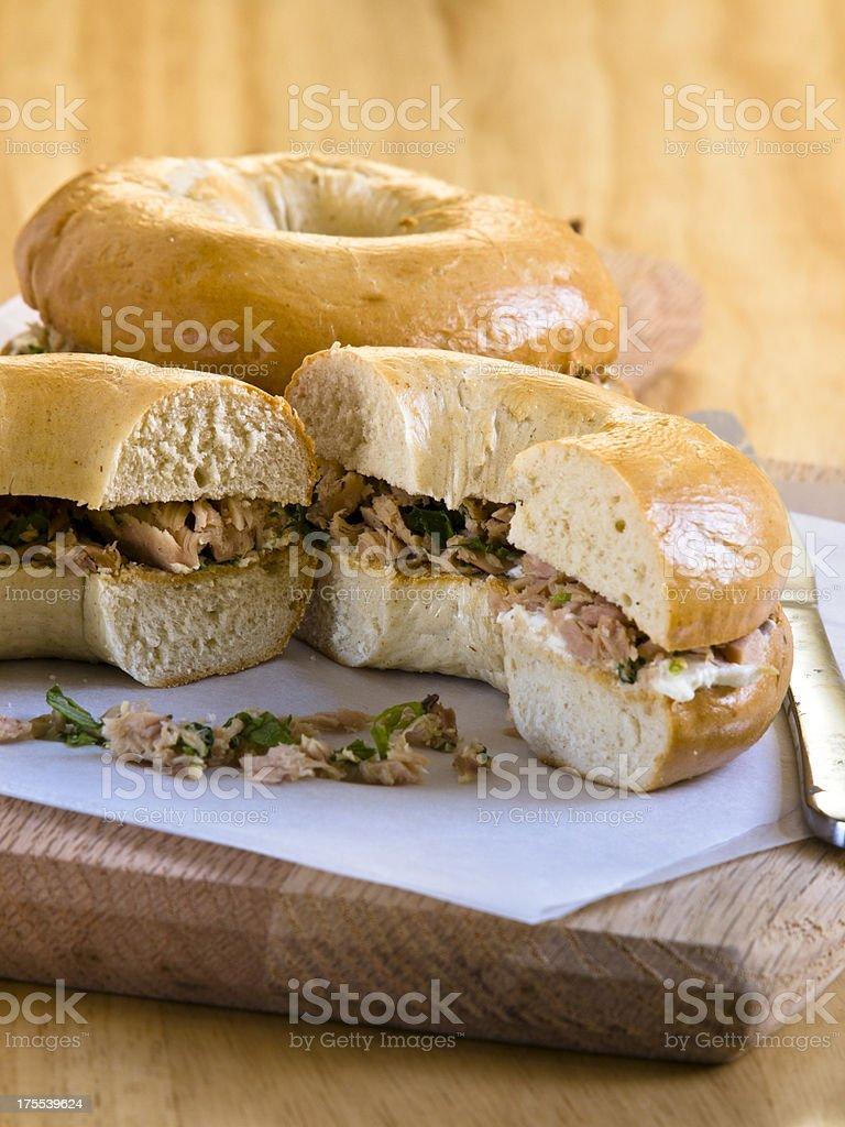 Tuna bagels royalty-free stock photo