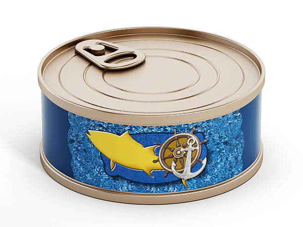 Tuna can Closed tuna can with generic label isolated on white. (Images from my own portfolio) tuna animal stock pictures, royalty-free photos & images