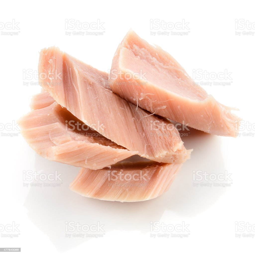 Tuna. Canned fish isolated on white stock photo