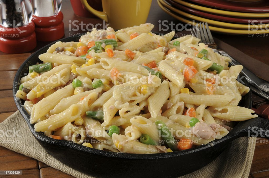 Tuna casserole in a skillet stock photo