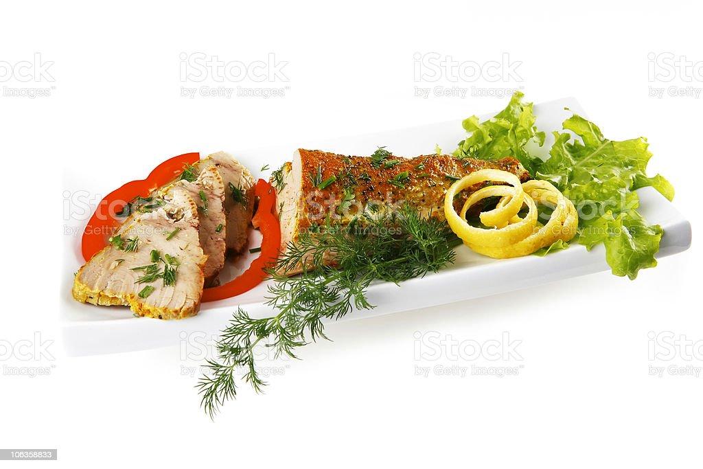 tuna chunk served on white royalty-free stock photo