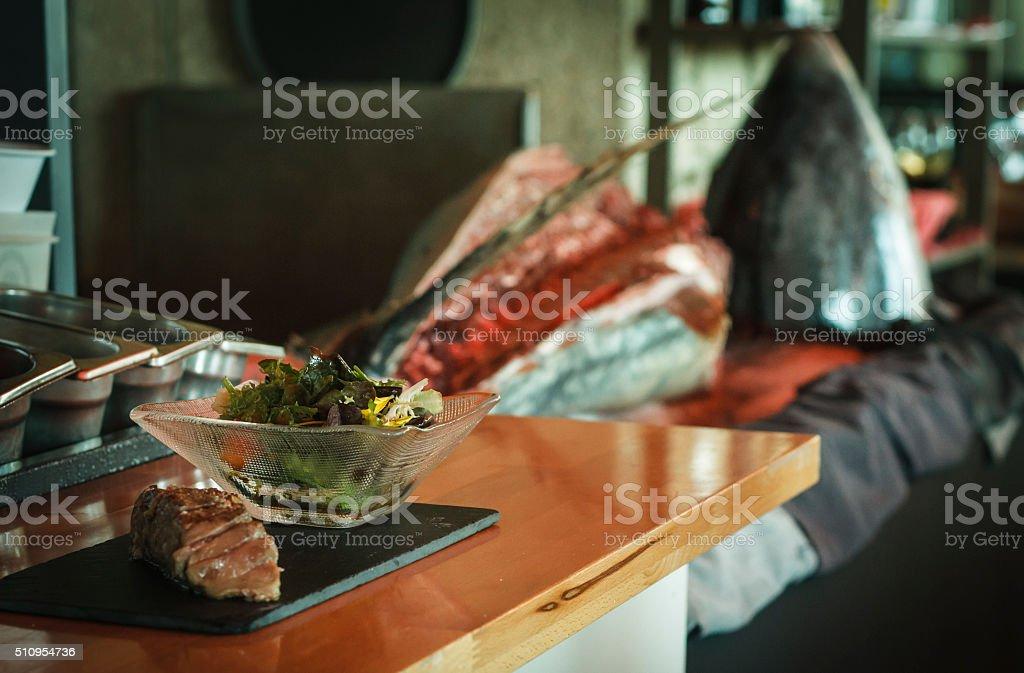Tuna dish with salad stock photo