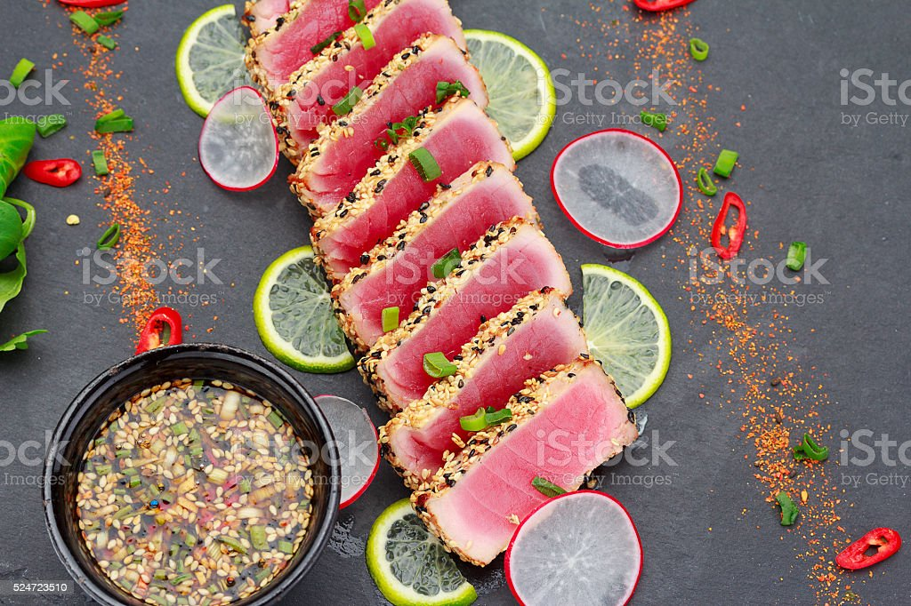 Tuna fillet with sesame stock photo