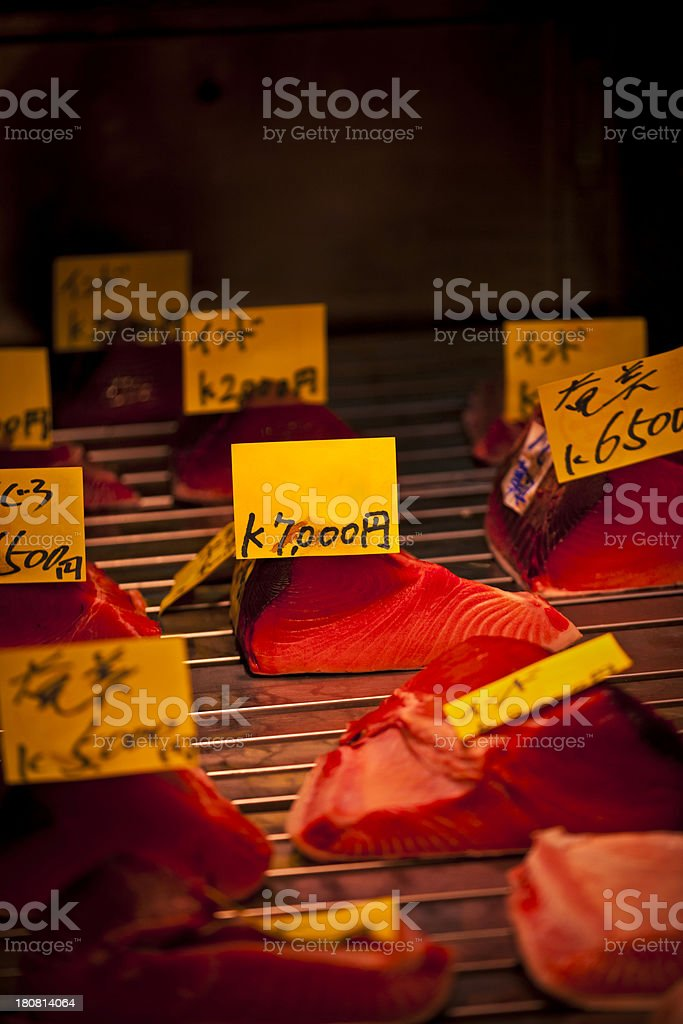 tuna fillets for sale in tsukiji fish market royalty-free stock photo