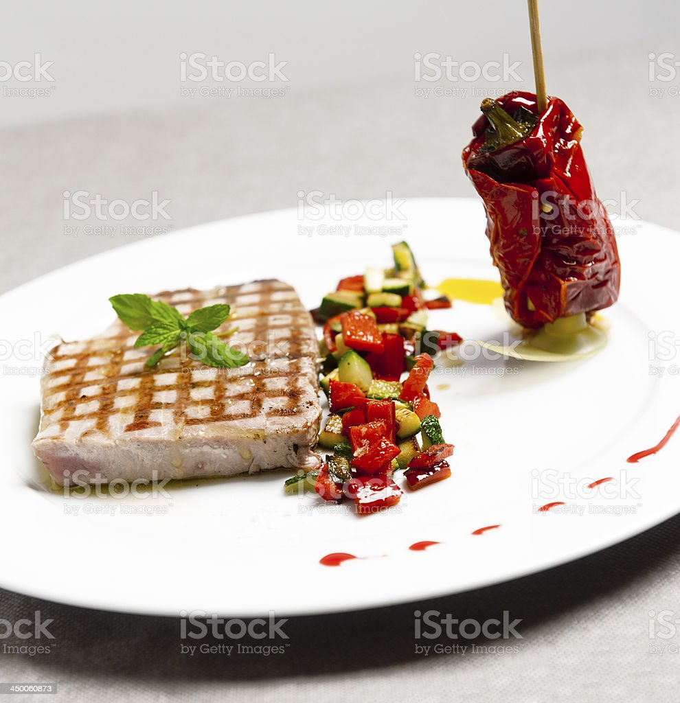 Tuna fish vegetables with peppers skewer stock photo