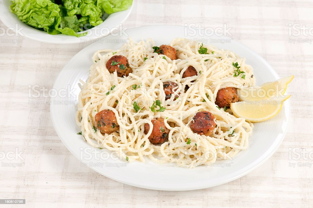 Tuna fried balls with spaghetti royalty-free stock photo