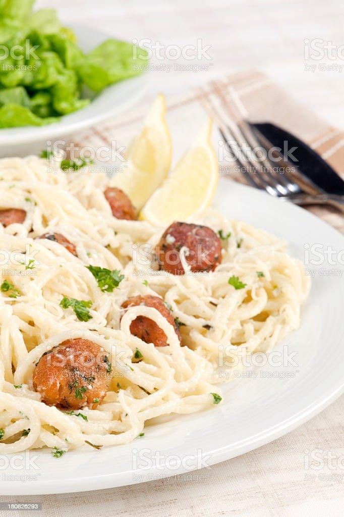 Tuna fried balls with spaghetti royalty-free stock photo