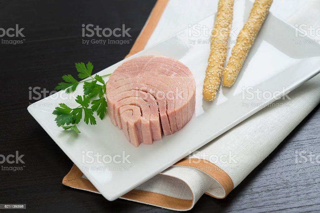 tuna in olive oil stock photo