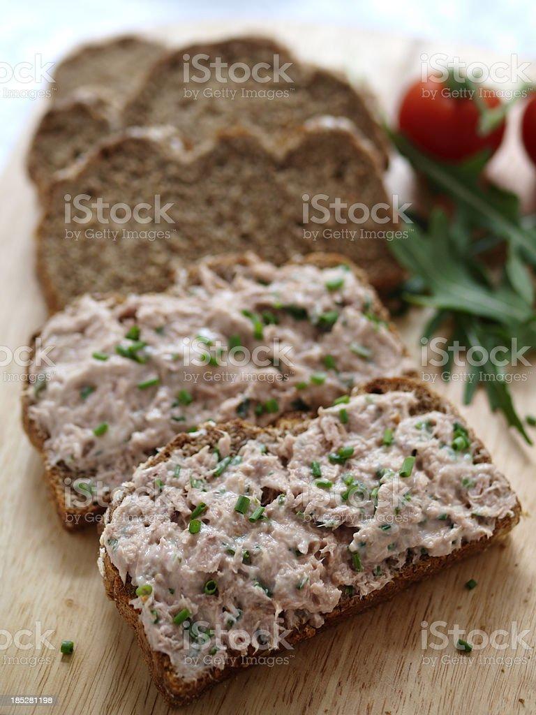Tuna mayonasie sandwich stock photo