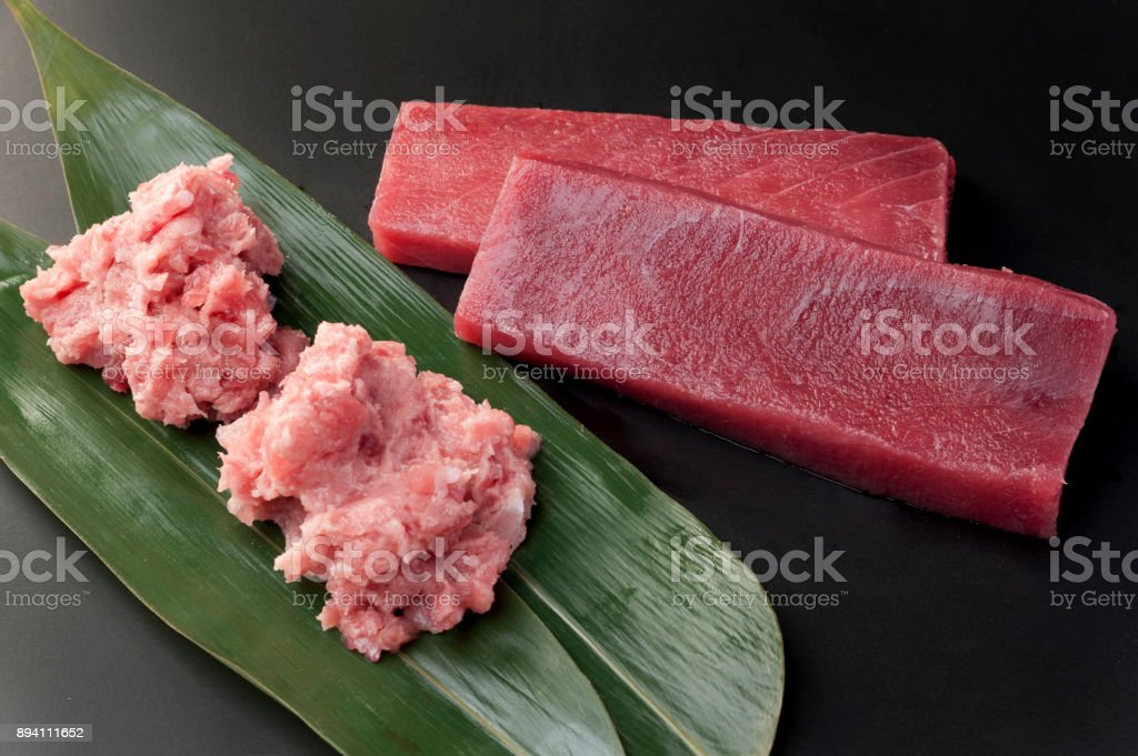 Tuna minamimaguro and mebatimaguro stock photo