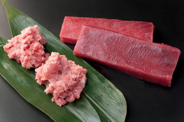 Tuna minamimaguro and mebatimaguro stock photo