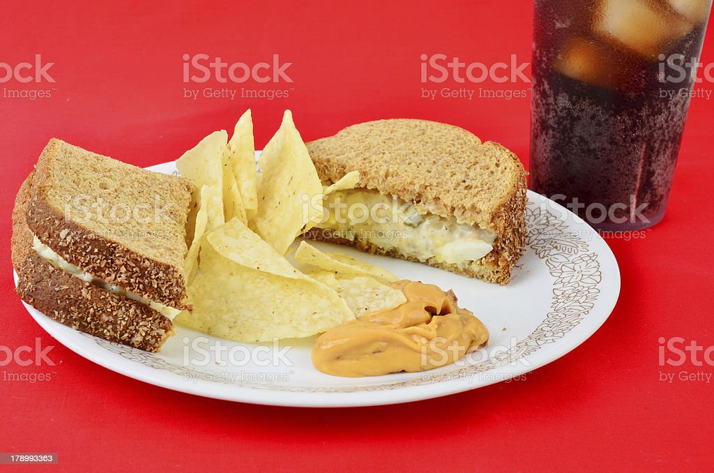 Tuna on Toast with Soda royalty-free stock photo