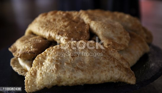 Tuna and puff pastry fried in restaurant, fast food