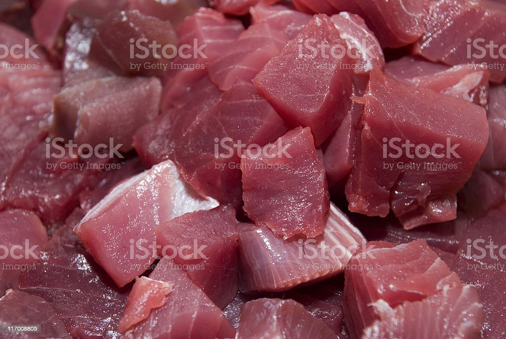 tuna pieces background - Thunfischtücke royalty-free stock photo