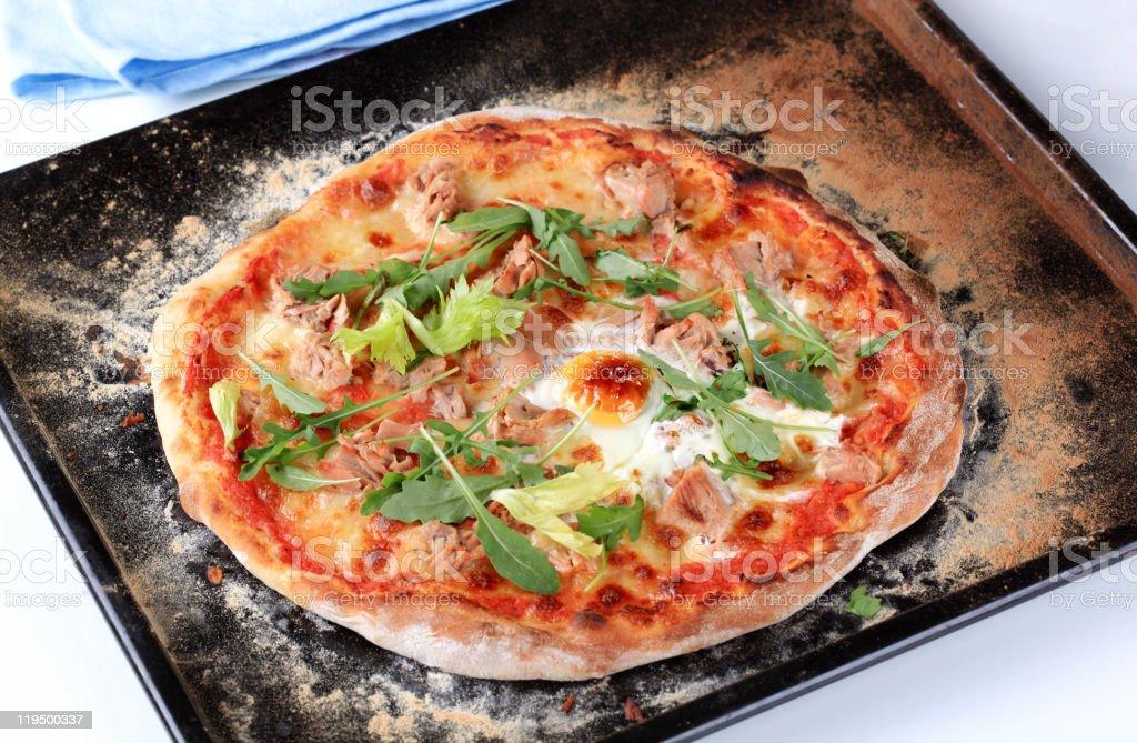 Tuna pizza royalty-free stock photo