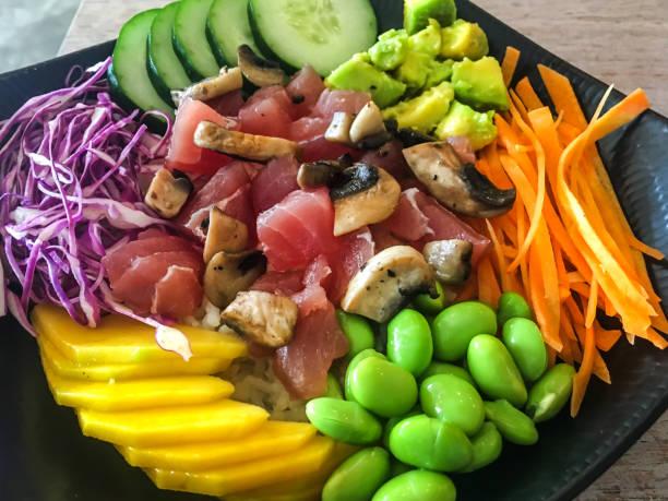 Tuna poke bowl salad stock photo