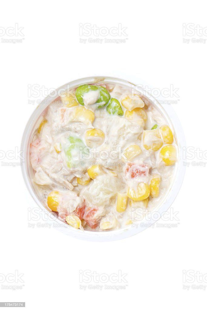 Tuna salad in plastic bowl isolated on white background. royalty-free stock photo