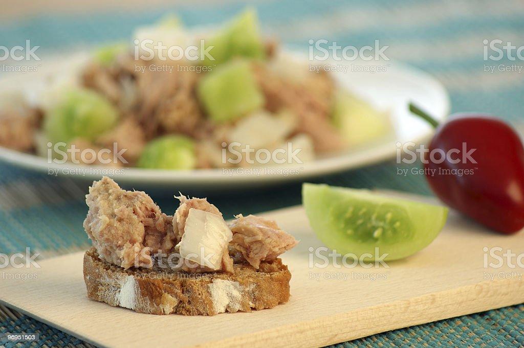 tuna salad on bread with green tomato royalty-free stock photo