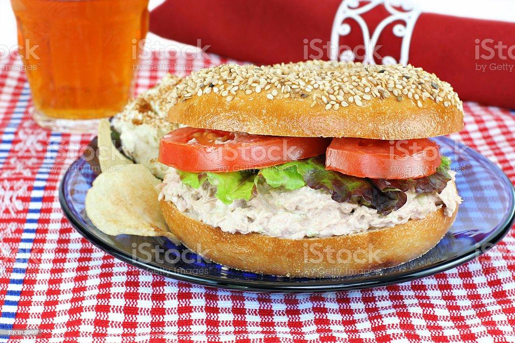 Tuna Salad sandwich on a sesame bagel. royalty-free stock photo