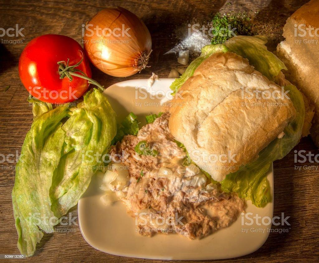 Tuna Salad Sandwich With Fresh Vegetables And Seasoning stock photo