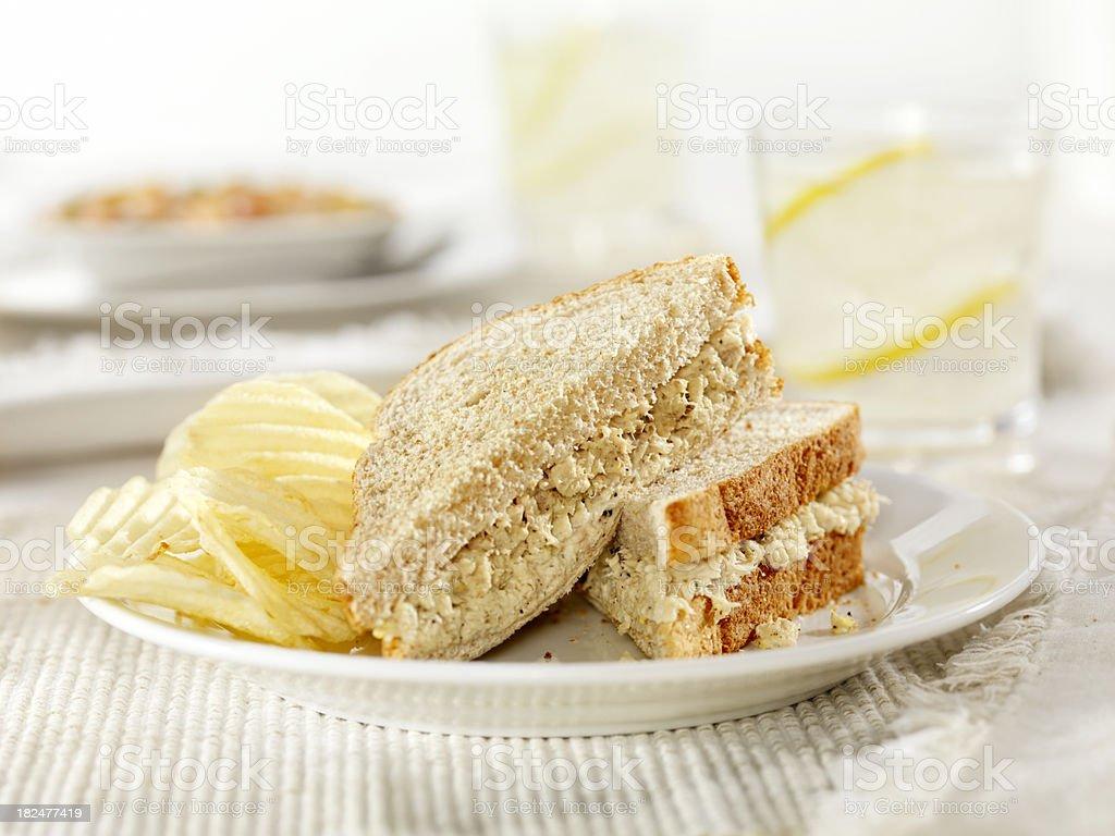 Tuna Salad Sandwich with Potato Chips royalty-free stock photo