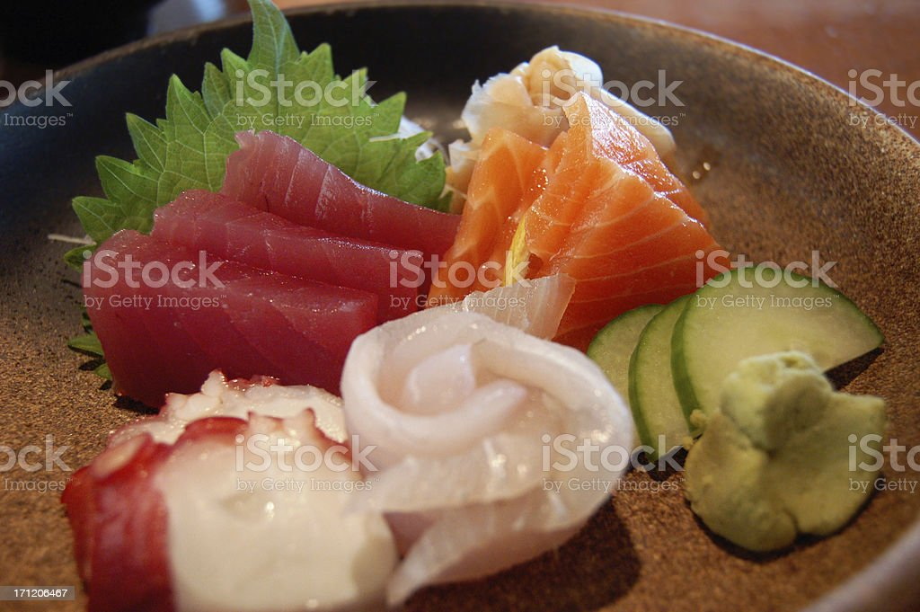 Tuna, salmon, and octopus sashimi royalty-free stock photo
