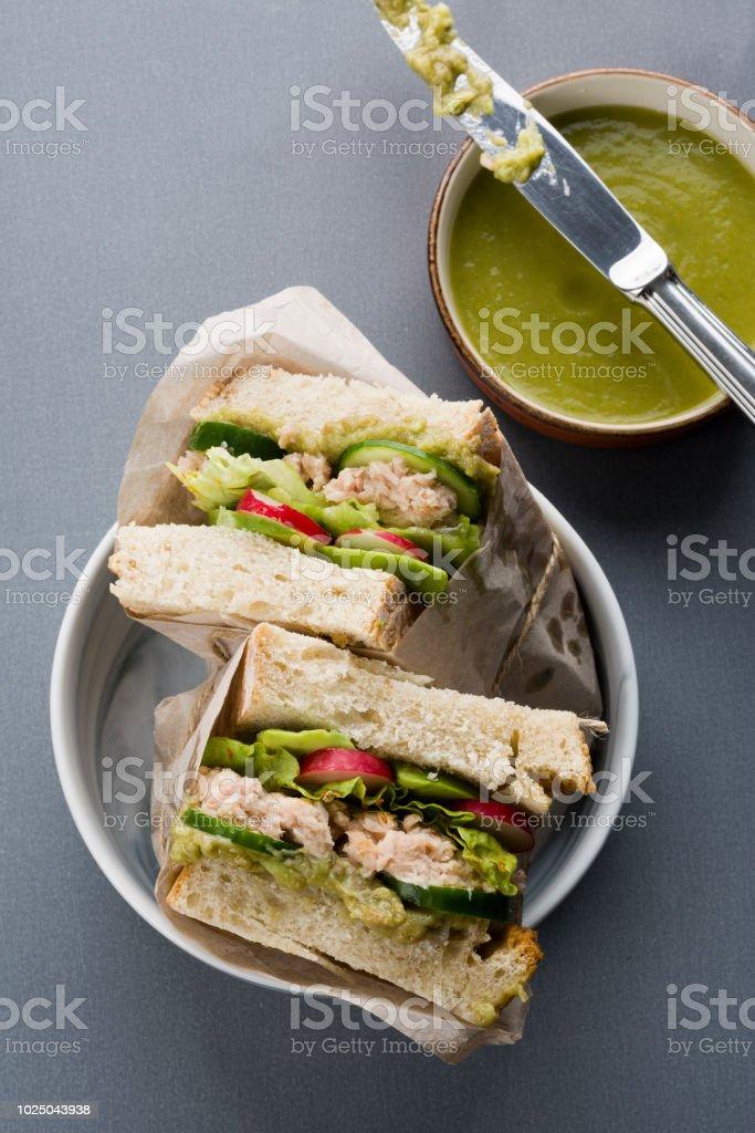 Tuna Sandwich and salsa verde stock photo