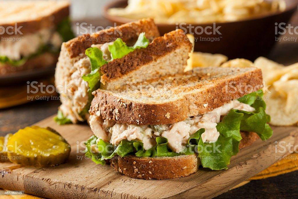 Tuna sandwich with lettuce on wheat toast stock photo