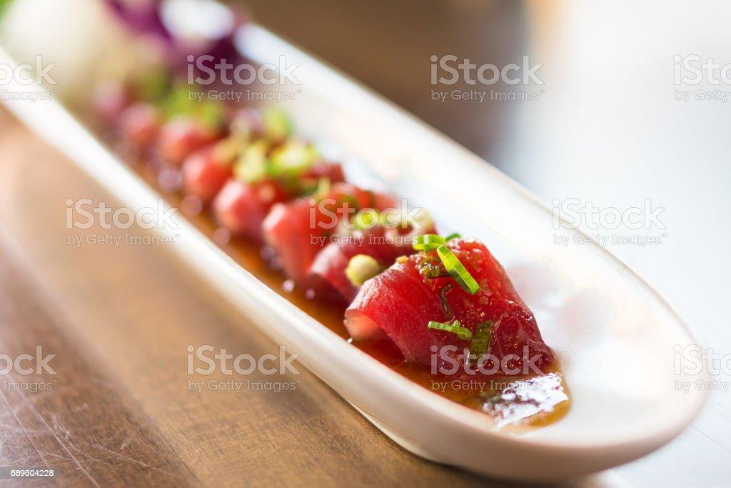 Tuna sashimi closeup. stock photo