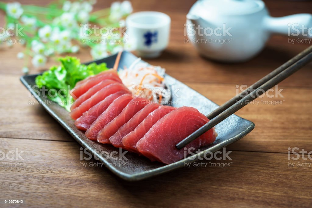 Tuna sashimi, raw fish in traditional Japanese style stock photo
