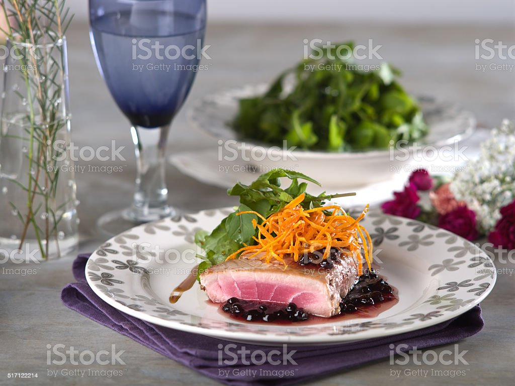 Tuna Steak in Blackberry Sauce stock photo