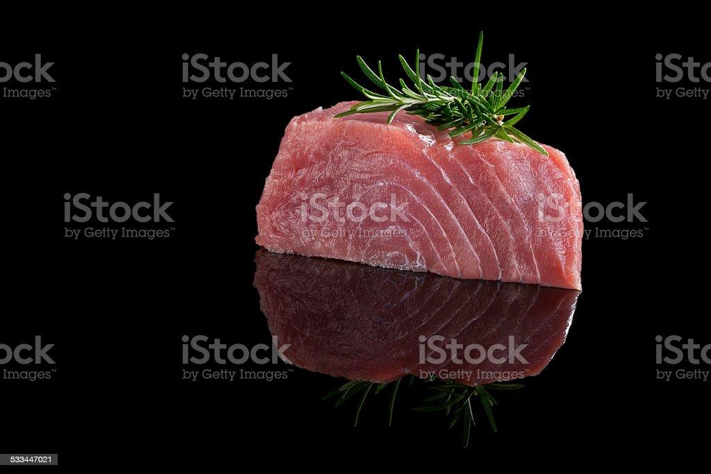Tuna steak isolated. stock photo