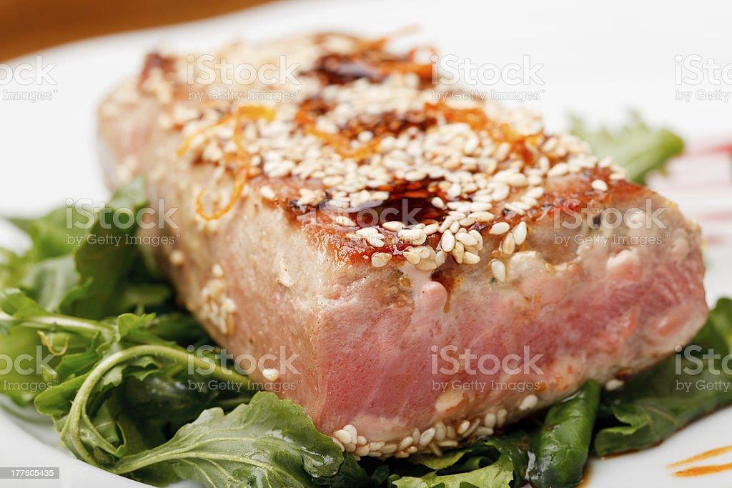 tuna steak stock photo