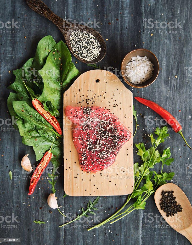 Tuna steak with sesame and greens stock photo
