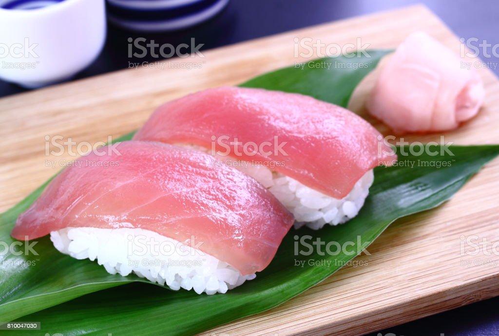Tuna Sushi and Sake, Japanese Food stock photo