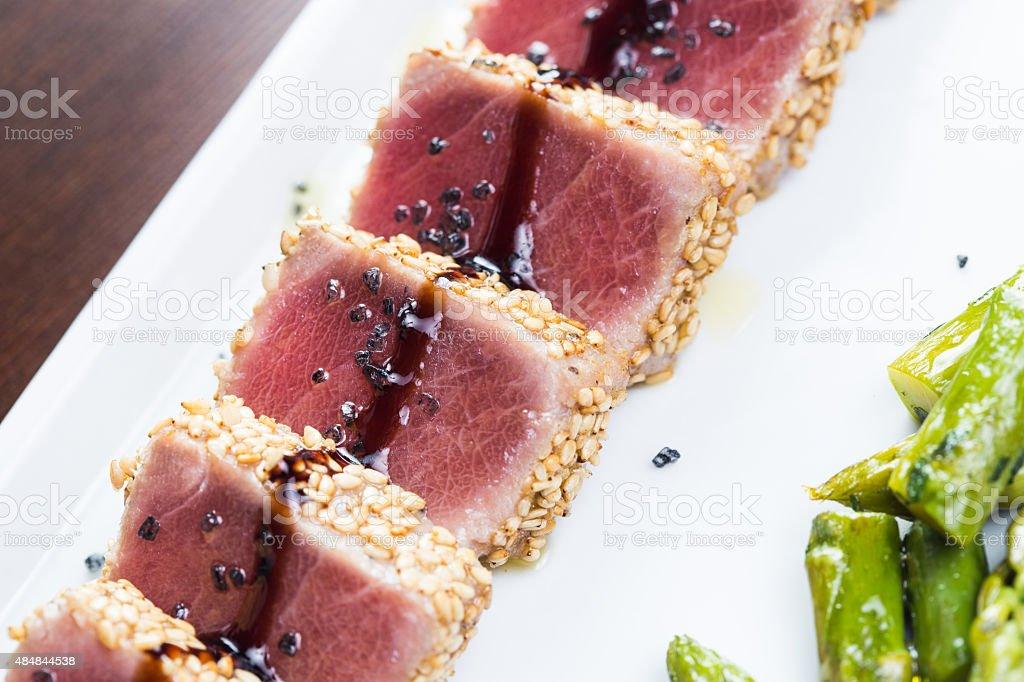 Tuna tataki stock photo
