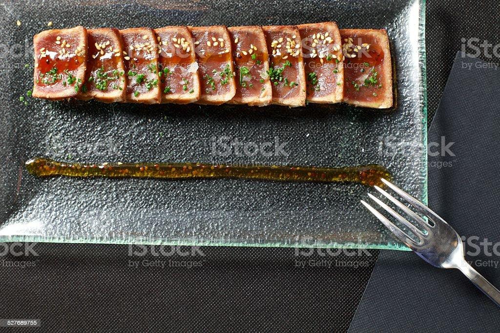 Tuna Tataki with Fork stock photo