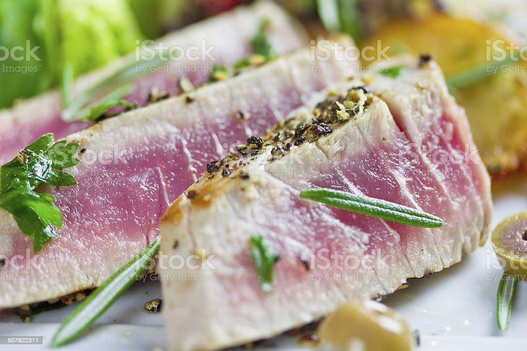tuna with salad stock photo