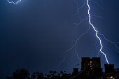 Tunder storm in the city,Belgrade Serbia