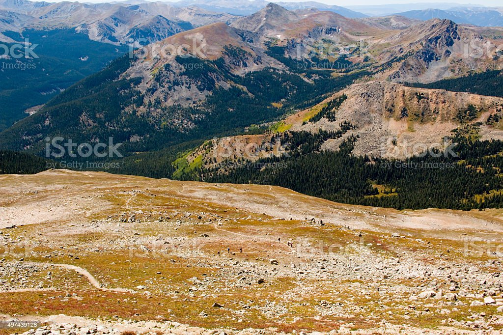 Tundra and Alpine Scenery on Mount Yale Colorado stock photo