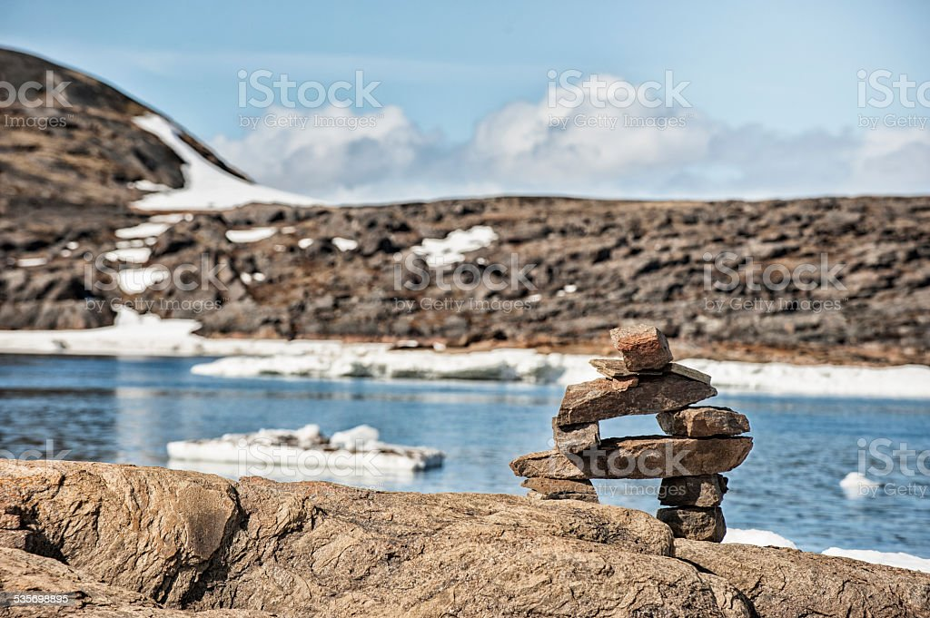 Tundra of Baffin Island, Nunavut, Canada, Foggy Day. stock photo