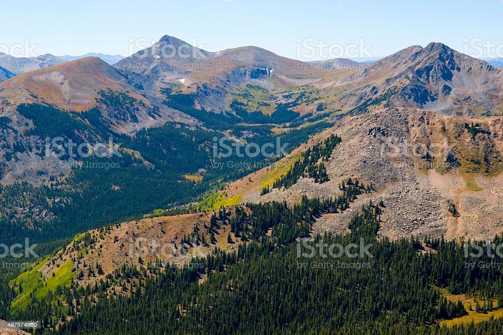 Tundra Turns to Autumn Gold  on Mount Yale Colorado stock photo