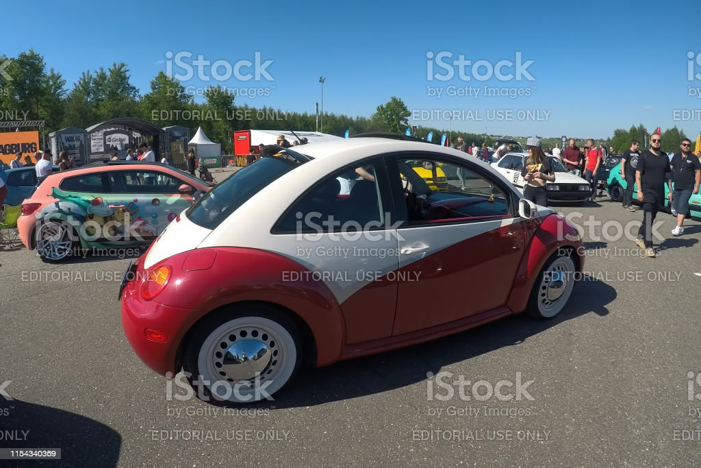 Tuned Red And White Volkswagen Beetle Parked On The Street Scirocco Wrapped Stays At Background Stock Photo Download Image Now Istock