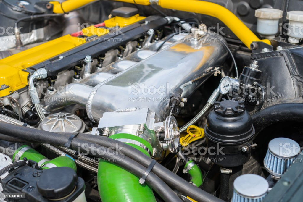 Tuned turbo nitrous oxide engine in car. stock photo