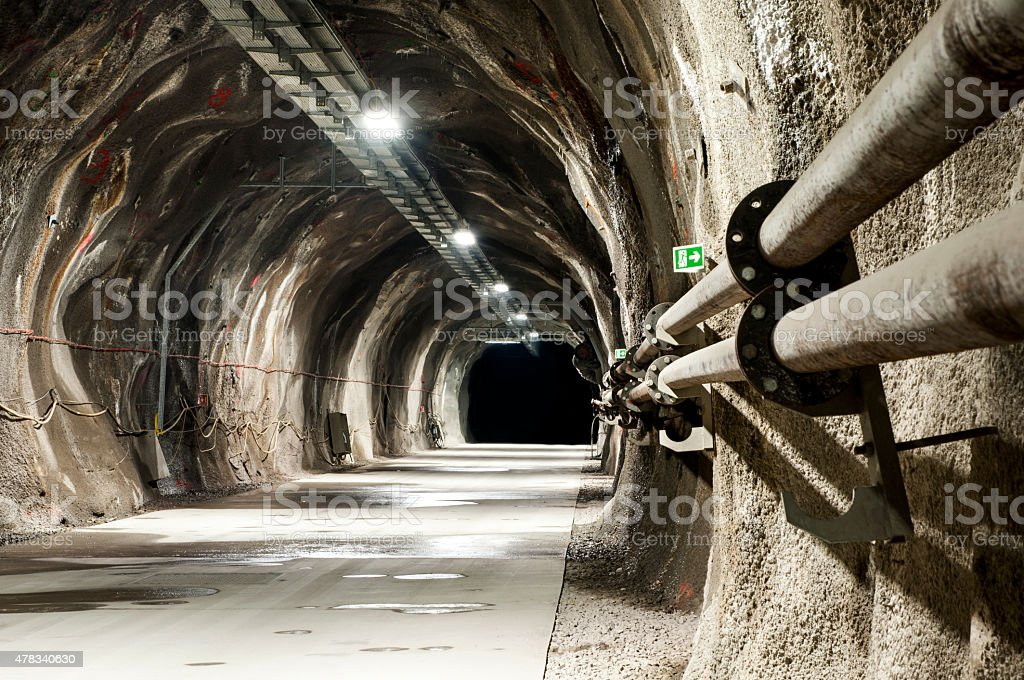 Tunel with concrete road stock photo